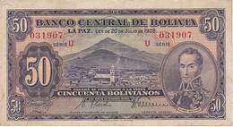 BILLETE DE BOLIVIA DE 50 BOLIVIANOS DEL AÑO 1928  SERIE U (BANKNOTE) - Bolivia