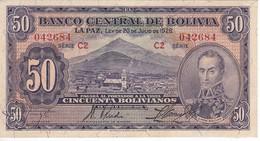 BILLETE DE BOLIVIA DE 50 BOLIVIANOS DEL AÑO 1928  SERIE C2 EN CALIDAD EBC (XF) (BANKNOTE) - Bolivia