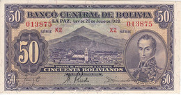 BILLETE DE BOLIVIA DE 50 BOLIVIANOS DEL AÑO 1928  SERIE H2 EN CALIDAD EBC (XF) (BANKNOTE) - Bolivia