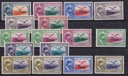 IRAN PERSANE LOT DE 16 TIMBRES OVER PRINTED ANNEE 1935. SCOTT AP 8, REZA SHAH PAHLAVI AND EAGLE. AVEC CHARNIERE  -LILHU - Iran