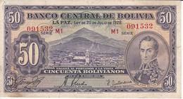 BILLETE DE BOLIVIA DE 50 BOLIVIANOS DEL AÑO 1928  SERIE M1 EN CALIDAD MBC (VF) (BANKNOTE) - Bolivia