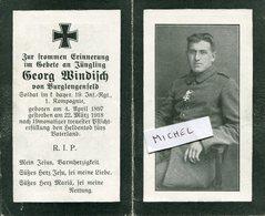 Ardennes. ORFEUIL.1918. Sterbebild Avis De Décès Soldat Allemand - 1914-18