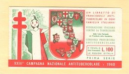 XXIII° CAMPAGNA NAZIONALE ANTITUBERCOLARE - 1960 - PRIMA SERIE - LIBRETTO COMPLETO DI 10 FRANCOBOLLI - - Malattie