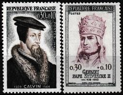 Série De 2 Timbres-poste Gommés Neufs** - Personnages Célèbres Jean Calvin Gerbert - N° 1420-1421 (Yvert) - France 1964 - Unused Stamps