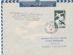 V è Centenaire De La Découverte De La Guinée Portaugaise - Première Liaison Aérienne Française DAKAR - BISSAO 3/3/1947 - Aviones