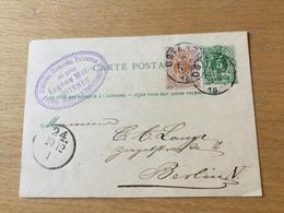 SCH3199 Belgien Ganzsache Stationery Entier Postal P 18 Von Ostende Nach Berlin - Stamped Stationery