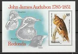 REDONDA - BLOC ** (1985) OISEAUX / J.J.Audubon - Oiseaux
