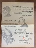 Tract Politique : Dehors Le Gouvernement Des Matraqueurs ! Lip, Ligue Communiste... - 1974 - Documents Historiques