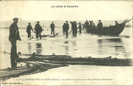 33  MONTALIVET LES BAINS - LA PECHE A LA PINASSE SUR LES BORDS DE L' ATLANTIQUE (ref 8282) - France