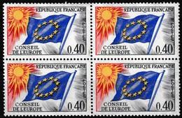 Bloc De 4 Timbres De Service Neufs** - Conseil De L'Europe Drapeau Du Conseil - N° 31 (Yvert) - France 1969 - Neufs