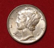 USA. MERCURY DIME 1944 AUNCIRCULATED. SILVER.  ARGENT.  ETATS UNIS (1) - 1916-1945: Mercury