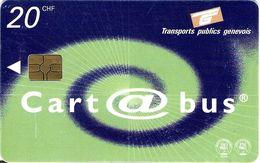 CARTE A PUCE TRANSPORT METRO AUTOBUS TRANSPORTS PUBLICS GENEVOIS CART @ BUS 20 CHF PUBLICITÉ TIRAGE 100 000 Ex 03/2002 - Métro
