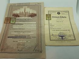 1938 Austria Heimatschein Citizenship Certificate Wien Kallham Anschluss 2pcs - Documents Historiques