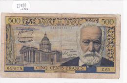 Billet De 500 Francs VICTOR HUGO Du 6 Janvier 1955 - Z.63678 Alph 63 @ N° Fayette : 35.4 - 1871-1952 Anciens Francs Circulés Au XXème