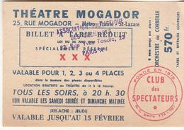 THÉÂTRE MOGADOR - Tickets D'entrée
