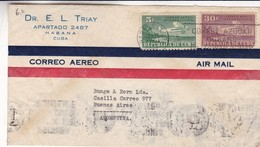 """""""DR. E. L. TRIAY"""" CUBA COMMERCIAL COVER, CIRCULATED 1946, HABANA TO BUENOS AIRES ARGENTINA, BY AIRMAIL -LILHU - Cartas"""