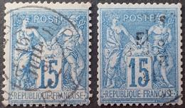 R1631/2173 - SAGE T II N°90 CàD : PARIS Rue BLEUE 15 JUILL. 1886 + N°90a CàD : PARIS 8 JANV. 1881 LEVEE EXCEPTIONNELLE - 1876-1898 Sage (Type II)