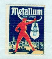 Reklamemarke- Metallum Drahtlampe, Riese Erleuchtet Stadt Mit Elektrischer Glühlampe - Fabbriche E Imprese