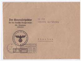 Dt.- Reich (003155) Propaganda Dienstpost Gelaufen Der Generalinspektor Für Das Deutsche Strassenwesen An SA Führung,gel - Briefe U. Dokumente