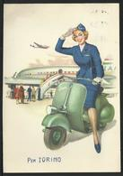 Cartolina Pubblicitaria VESPA Con Hostess Motorizzata - Motos