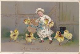 Heureuses Pâques Enfant Et Poussins Circulée En 1911 - Pasen