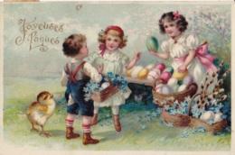 Joyeuses Pâques Groupe D'Enfants Circulée En 1910 - Pasen