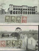 """Tunisie - 1910 - Affranchissement Timbres """"Mosquée De Kairouan"""" Sur Deux CPA De Bizerte - - Lettres & Documents"""