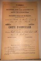 MINES DE LA LUCETTE Mayenne Assemblée Générale 2 Cartes D'admission Antimoine Mine 1906 - Autres