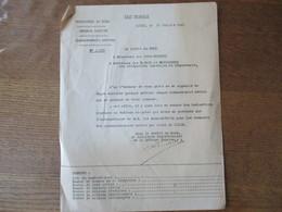 ETAT FRANCAIS LILLE LE 12 JUILLET 1941 LE PREFET DU NORD DEFENSE PASSIVE BOMBARDEMENTS AERIENS NOTE N°2690 - Historische Dokumente