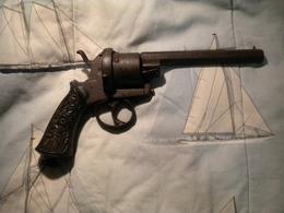 Ancien Revolver XIX E A Broche 5 - Decotatieve Wapens