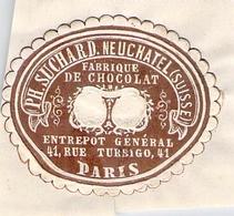 étiquette Ancienne Ph Suchard Neufchatel Suise Fabrique De Chocolat Entrepot 41 Rue Turbigo Paris - Publicités