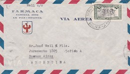 """""""FARMACA"""" BOLIVIA COMMERCIAL COVER, CIRCULATED 1952 LA PAZ TO BUENOS AIRES, ARGENTINA. AIRMAIL -LILHU - Bolivie"""