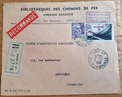 Haute Couture Gandon En FRANCHISE - Recommandé Bibliothèque Chemins De Fer Hachette 2 Novembre 1953 - Paris 47 - YT 941 - Storia Postale