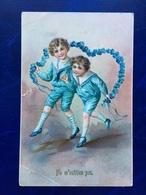 "Embossed-Gaufrée--""Enfants Jouant Avec Girlande De Fleurs""-(716) - Other"