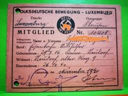 Volksdeutsche Bewegung, Luxembourg 944. Très Rare Document Avec Beaucoup Timbres, WW2 - 1940-1944 German Occupation