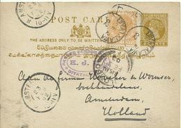 1902 Ceylon  2 Cent Post Card + 4c Stamp From Diyatalawa To Amsterdam - Ceylan (...-1947)