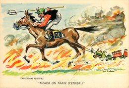 4 CP - CHEVAUX - HIPPIQUE - HIPPISME - HUMOUR - N 072 - 3 - 4 - 5 - Horse Show