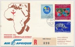 Erster Air Afrique Direktflug Genève-Libreville -> Ab Lichtenstein Aufgegeben - Air Post