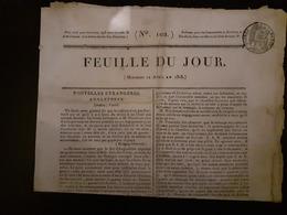 Journal La Feuille Du Jour Du Mercredi 12 Avril 1815 Napoleon 1er - Zeitungen