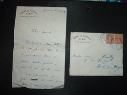 LETTRE REGIMENT DE FAULQUEMONT IIe Baton CAMP DE ZIMMING TP SEMEUSE 25c Paire OBL. HEXAGONALE 1-3 37 BOUCHEPORN MOSELLE - Postmark Collection (Covers)