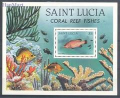 Saint Lucia 1983 Mi Bl 37 MNH ( ZS2 SLCbl37dav37D ) - Peces