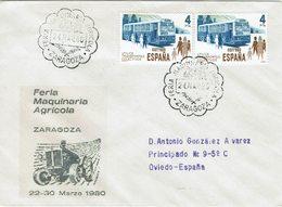 ESPAGNE LETTRE AVEC OBLITERATION SALON DES MACHINES AGRICOLES DE SARAGOSSE 1980 - TRACTEUR - Agriculture