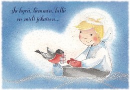 Postal Stationery - Girl Sitting With Bird - Bullfinch - Plan - Suomi Finland - Postage Paid - Karto - Finland