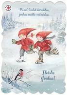 Postal Stationery - Bird - Bullfinch In Winter Landscape - Children Skating - Red Cross - Suomi Finland - Postage Paid - Finland