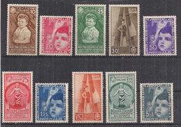 REGNO D'ITALIA 1937 MOSTRA DELLE COLONIE ESTIVE E ASSISTENZA ALL'INFANZIA SASS. 406-415 MLH VF - 1900-44 Victor Emmanuel III
