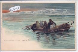 EXPEDITION POLAIRE- KREUZUNG EINER RINNE 1895- CROISEMENT D UN CANAL- ILLUSTRATION GOLDFELD 1898 - Missions