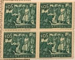 """POR#4718-Block Of 4 MNH Stamps Of 5 Centavos - """"VIII. Centenário Da Tomada De Lisboa Aos Mouros"""" - Portugal - 1947 - Blocchi & Foglietti"""