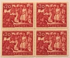 """POR#4717-Block Of 4 MNH Stamps Of 20 Centavos - """"VIII. Centenário Da Tomada De Lisboa Aos Mouros"""" - Portugal - 1947 - Blocchi & Foglietti"""