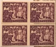 """POR#4716-Block Of 4 MNH Stamps Of 50 Centavos - """"VIII. Centenário Da Tomada De Lisboa Aos Mouros"""" - Portugal - 1947 - Blocchi & Foglietti"""