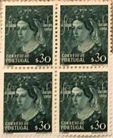 "POR#4676-Block Of 4 MNH Stamps Of 30 Centavos - ""Dinastia De Avis - D. Filipa De Lancastre"" - Portugal - 1949 - Blocchi & Foglietti"